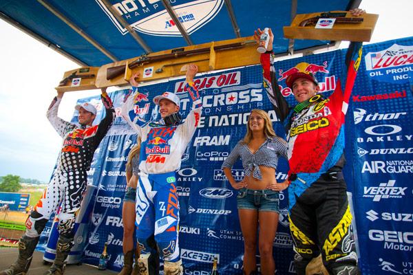 450 Class podium: Dungey (left), Roczen (center), Tomac (right). (Photo: Matt Rice)