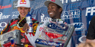 Stewart (right) and Roczen (left) earned the top two spots on the 450 Class podium. (Photo: George Crosland)