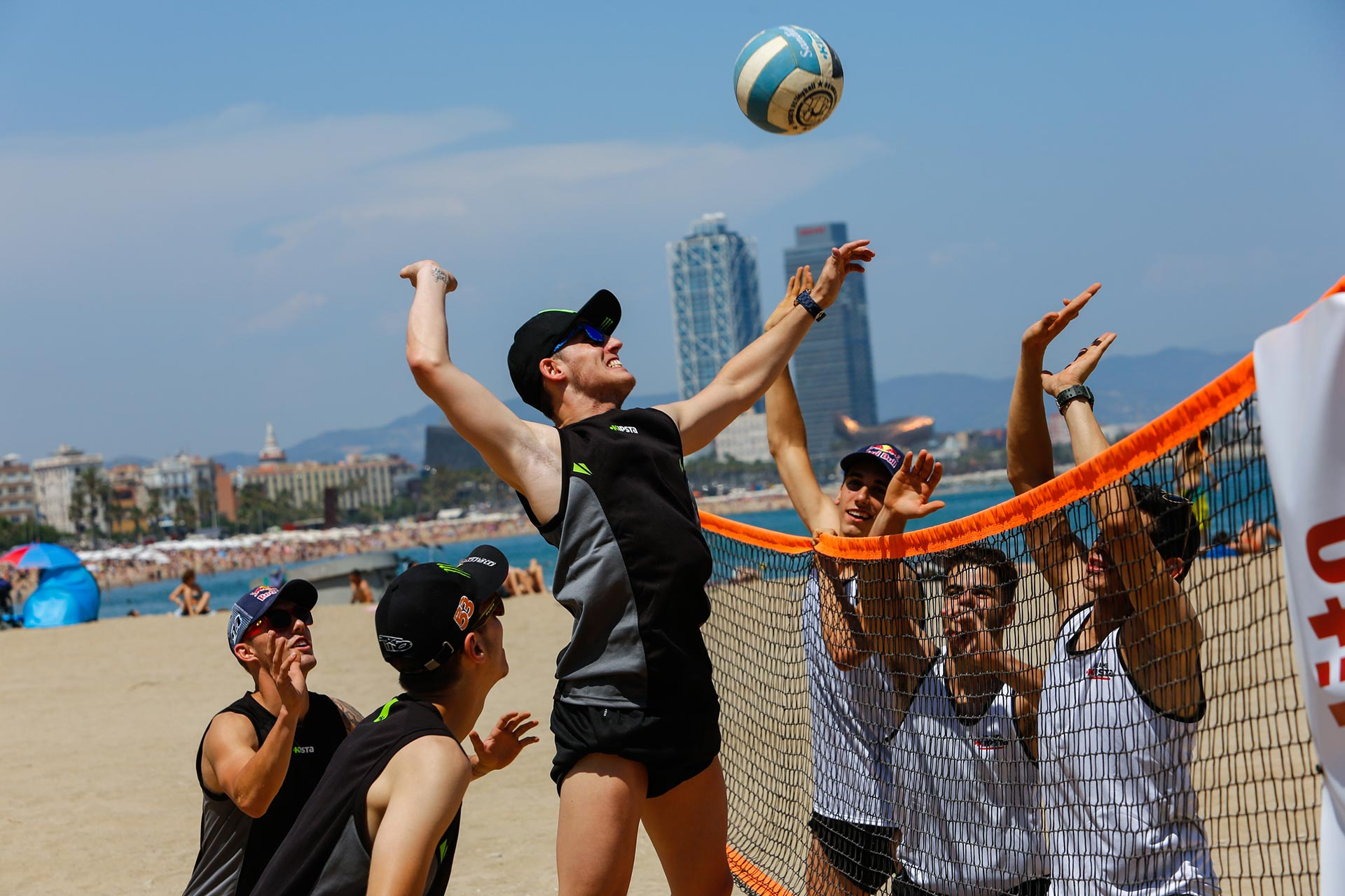 A group of six World Championship riders warmed up for the Gran Premi Monster Energy de Catalunya on Wednesday with a spot of beach volleyball in the beautiful city of Barcelona.