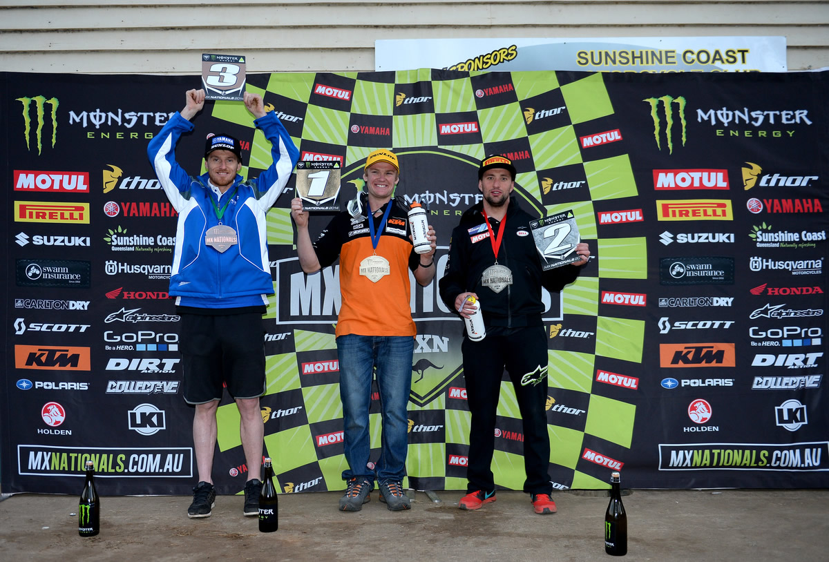 KTM Motocross Racing Team rider Kirk Gibbs has taken just the third MX1 victory of his career and his second this year in a thrilling day's racing at the seventh round of the Monster Energy MX Nationals at Conondale.