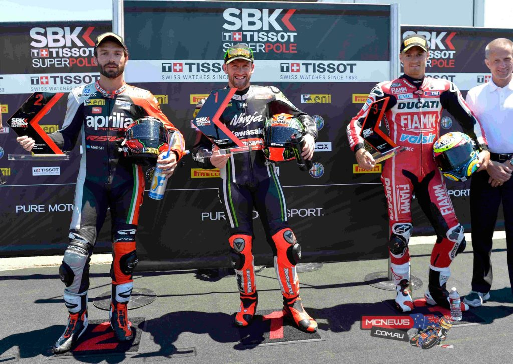 At the flag it was reigning champion Sykes who lived up to his title of Mr Superpole, edging. Sylvain Guintoli and Chaz Davies by half a second. The top-3 riders were presented with the Tissot-Superpole Award by former WSBK champion Doug Polen.