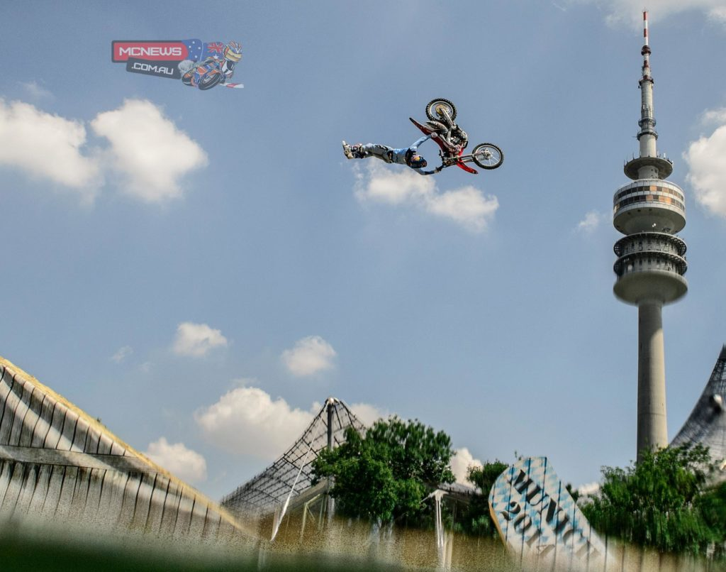 Josh Sheehan double-backflipped his way to a spectacular victory at the Red Bull X-Fighters stop in Munich, a mid-summer fairytale on the first floating FMX track ever that threw the championship battle into a heated two-way contest ahead of the season finale in South Africa.