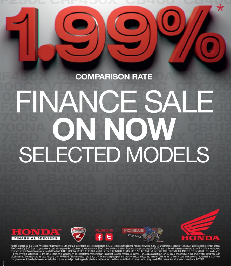 The 1.99% comparison rate will save you hundreds on the price of these new Honda Motorcycles but it's an offer that's only valid until 30 September 2014.
