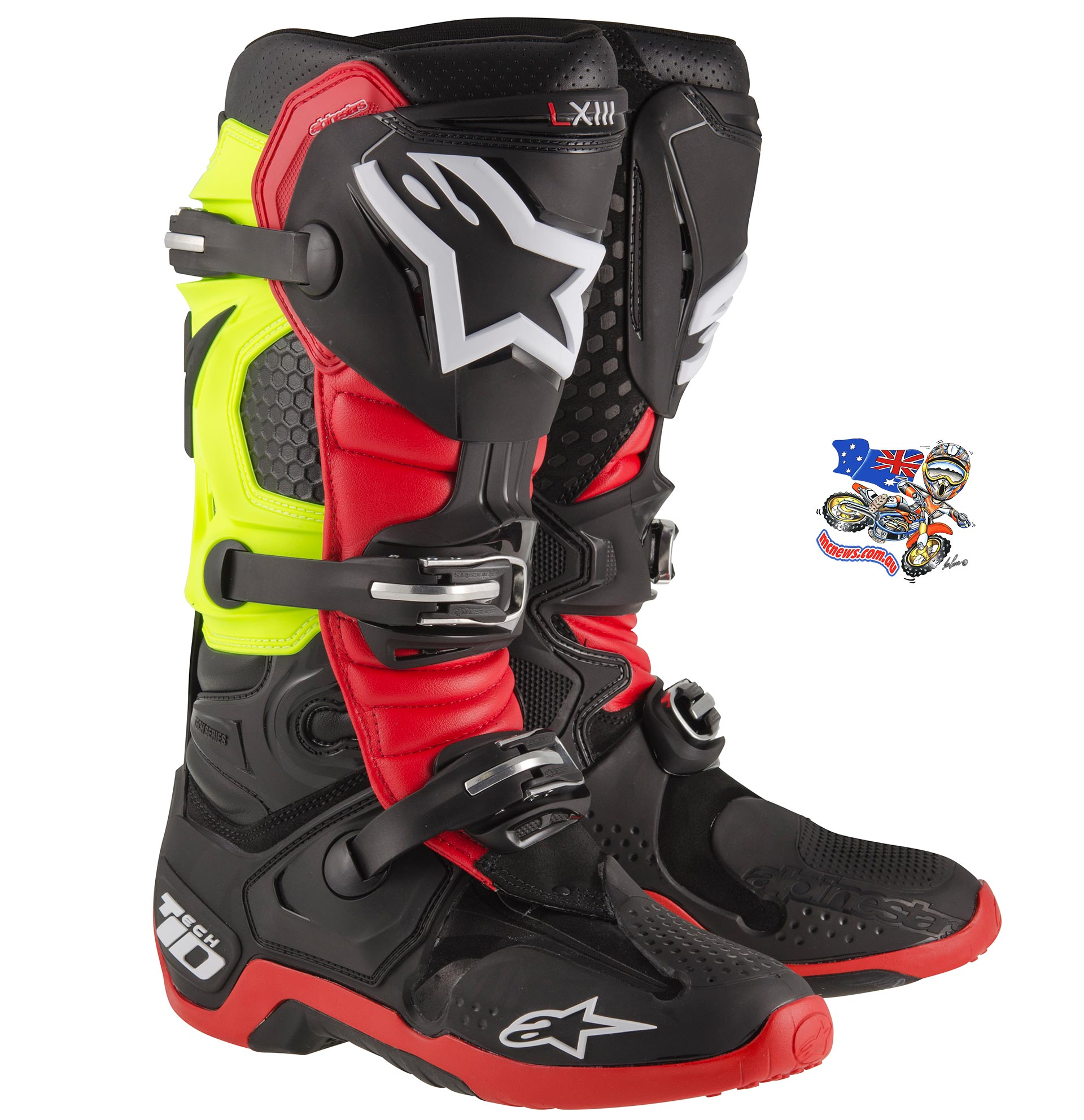 Alpinestars Tech 10 Limited Edition - Black/Red/Fluro Yellow - S2010014136.. sizes US 8-13. - RRP $679.95