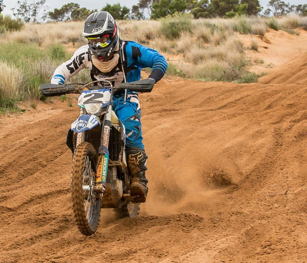 "Jarrod Bewley - FE450 - ""I got second in class and fifth outright which wasn't too bad. Thirteenth in the Prologue made it hard for me to start with, and then in the race it took me two laps to get into the groove.  The track was nowhere near as moist as last year, so it was blowing out a bit, with big square edges. Once I got my head around it I started putting in some good laps and made my way back towards the finish. It wasn't a bad result in the finish. It would have been nice to be up there straight away but it doesn't always happen that way."""