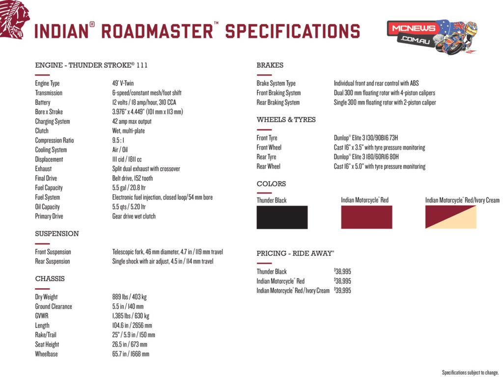 Indian-Roadmaster-Specifications