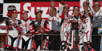 Musashi RT HARC-Pro trio (Takumi Takahashi - Leon Haslam - Michael van der Mark) have taken out the 2014 Suzuka 8 Hours by just under a minute ahead of Yoshimura Suzuki Shell Advance (Takuya Tsuda - Josh Waters - Randy De Puniet). This was the second win in succession for the Musashi RT HARC-Pro triumvirate.