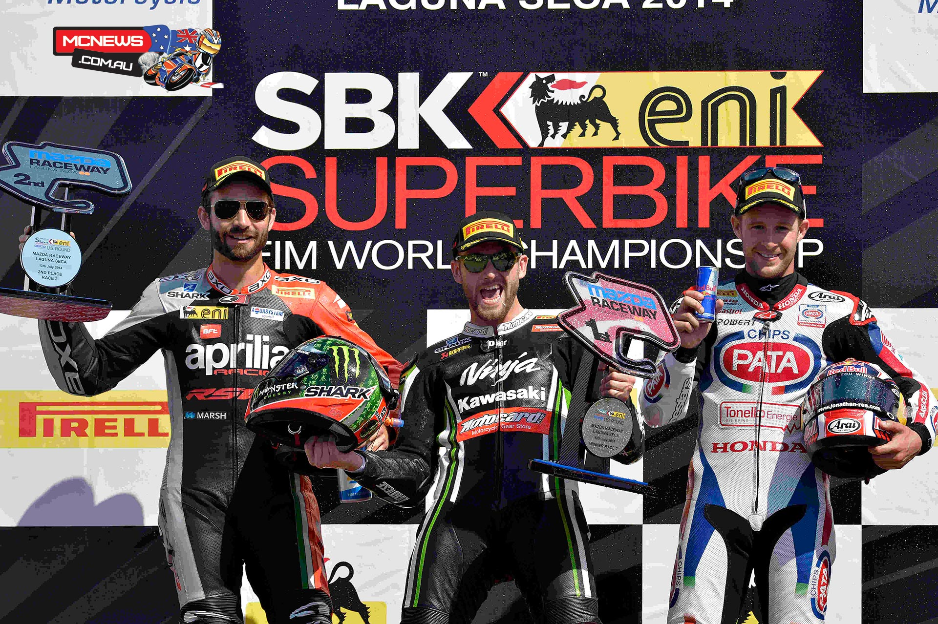 The second WSBK race at Laguna Seca was as hot on track as the air temperature as after two red flags and restarts, Tom Sykes (Kawasaki Racing Team) came out victorious in the 7 lap sprint race that put an end to the ninth round of the 2014 eni FIM Superbike World Championship, which saw a total 49,408 attendants during the three days. Thanks to his 22nd career win, the reigning champion added one tiny point to his championship lead over Sylvain Guintoli (Aprilia Racing Team), second at the flag and now 44 points behind the reigning champion.