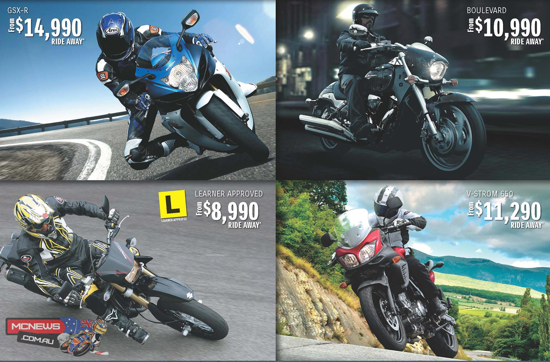 On-road costs consist of 12 months registration, Compulsory Third Party (CTP) insurance, Government stamp duty, dealer pre-delivery and freight charges. From participating Dealers only. Promotion excludes 250cc models. Terms and Conditions apply. Expires August 31