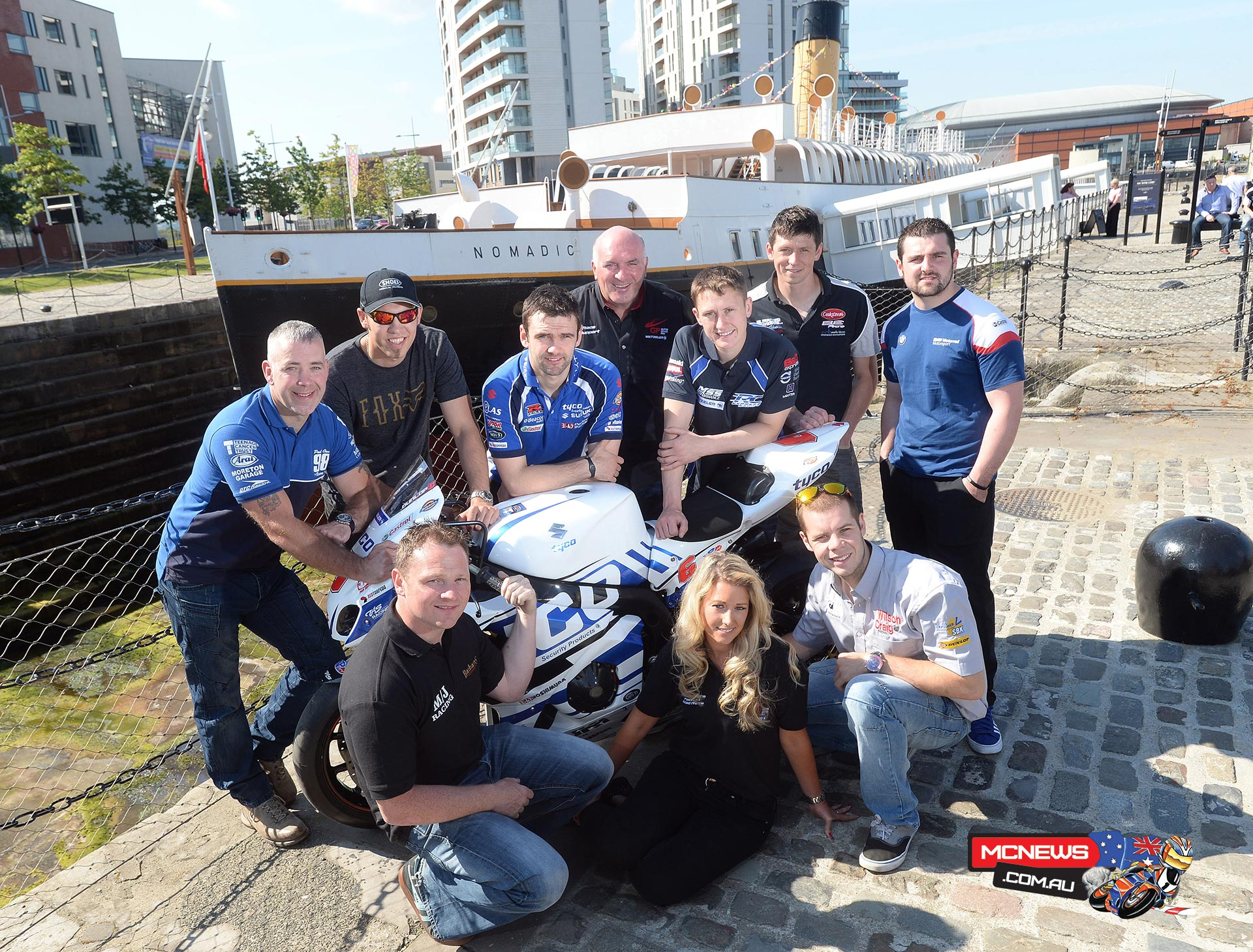 Some of the biggest names and brightest talents in real road racing have come together on board the SS Nomadic, Belfast to launch the 2014 Metzeler Ulster Grand Prix and give fans an exciting preview of this year's event. Pictured at the event are top road racers Paul Owen, Peter Hickman, William Dunlop, Dean Harrison, Dan Kneen, Michael Dunlop, Stephen Thompson and Jamie Hamilton with Clerk of the Course Noel Johnston and UGP grid girl Sorrel Flack.