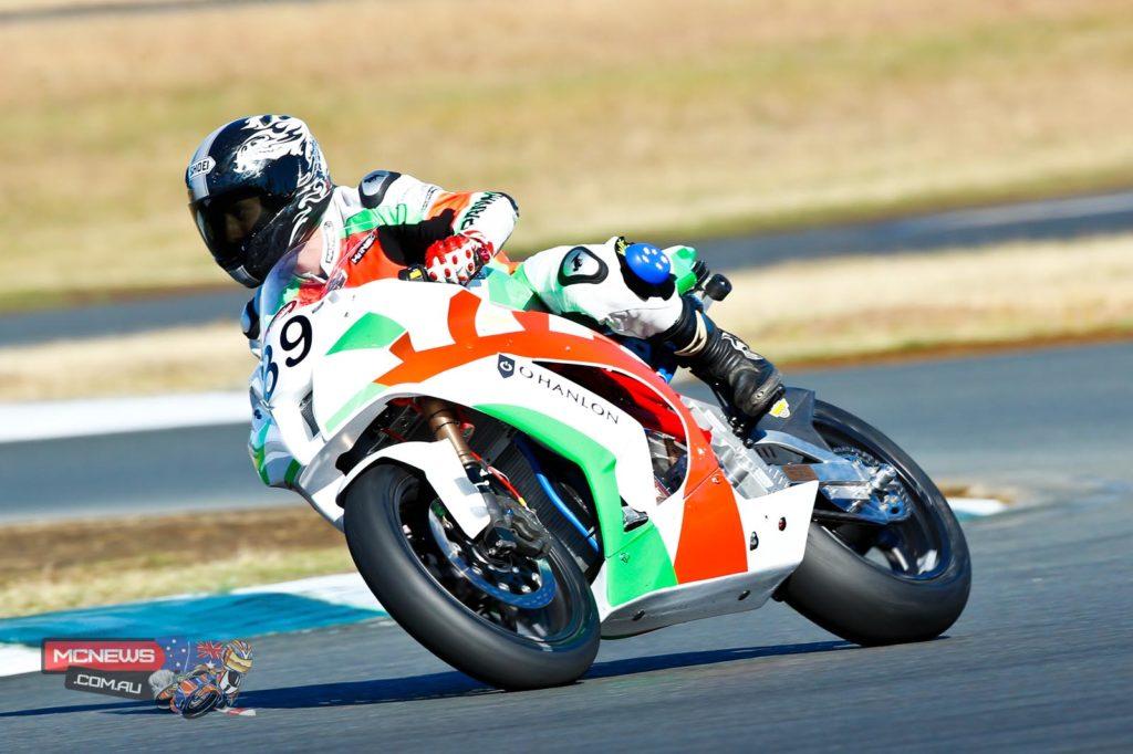 Danny Pottage onboard Chris Jones' electric motorcycle