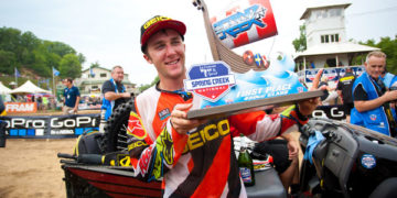 The first of what should be many first-place trophies in Tomac's 450MX career. (Photo: Matt Rice)