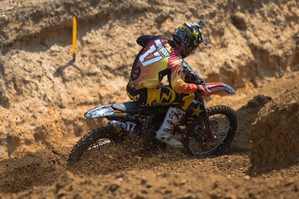 Anderson was a new face at the front of 250 Class field in the opening moto. (Photo: George Crosland)