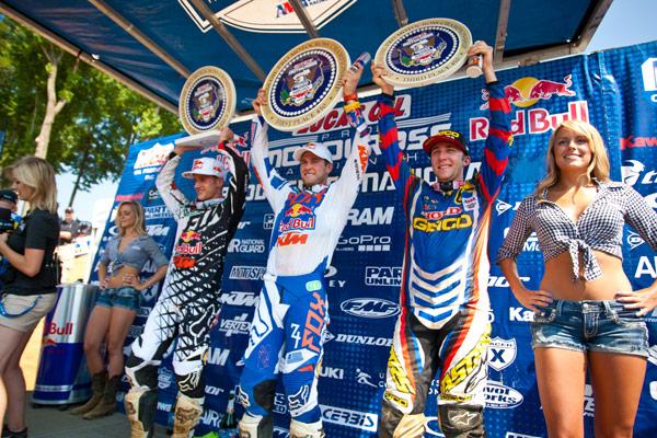 450 Class podium: Roczen (left), Dungey (center), Tomac (right). (Photo: Matt Rice)
