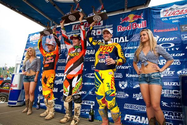 450 Class podium: Roczen (left), Tomac (center), Dungey (right). (Photo: Matt Rice)