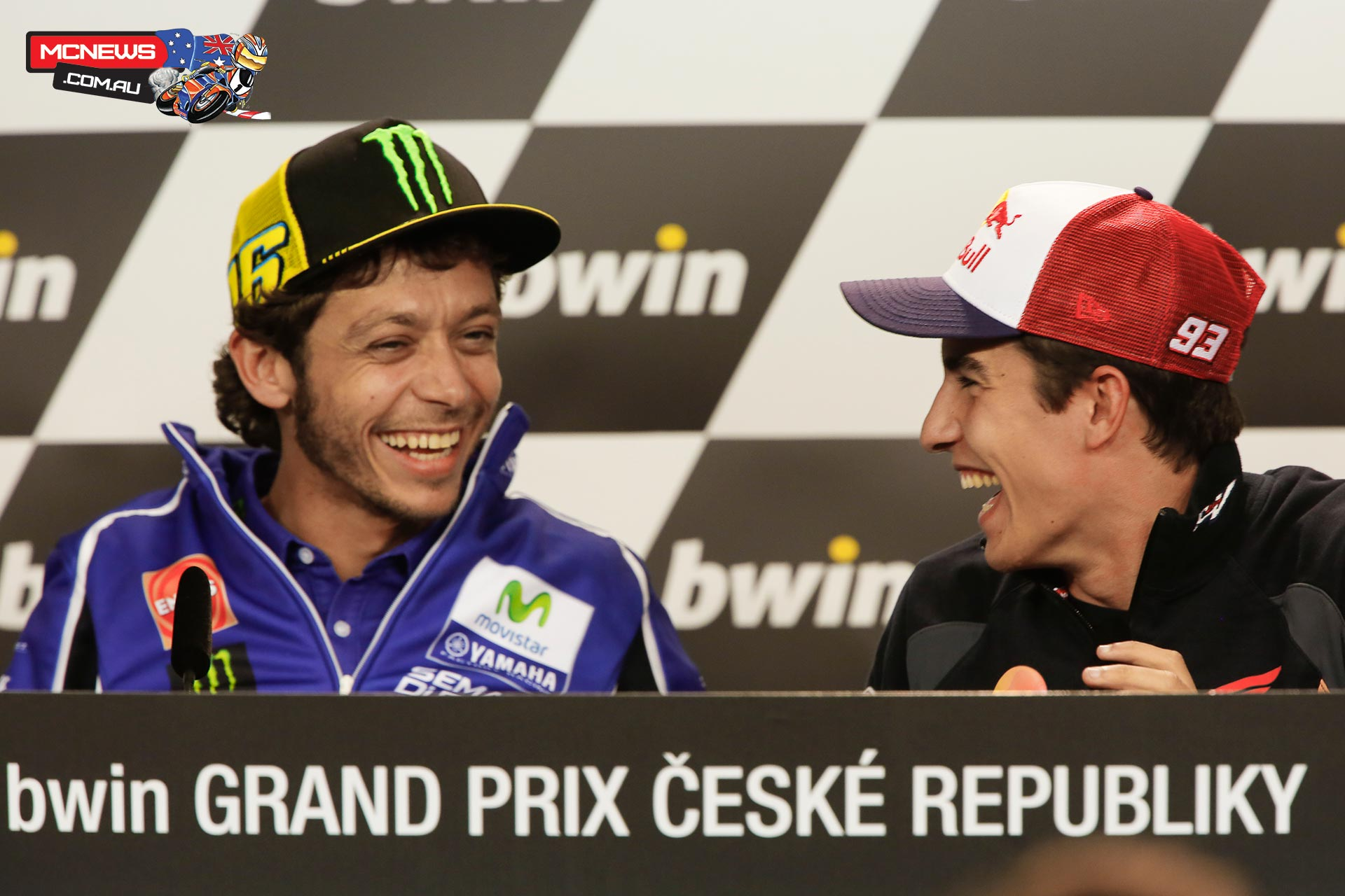 Marc and Vale share a laugh ahead of Brno MotoGP