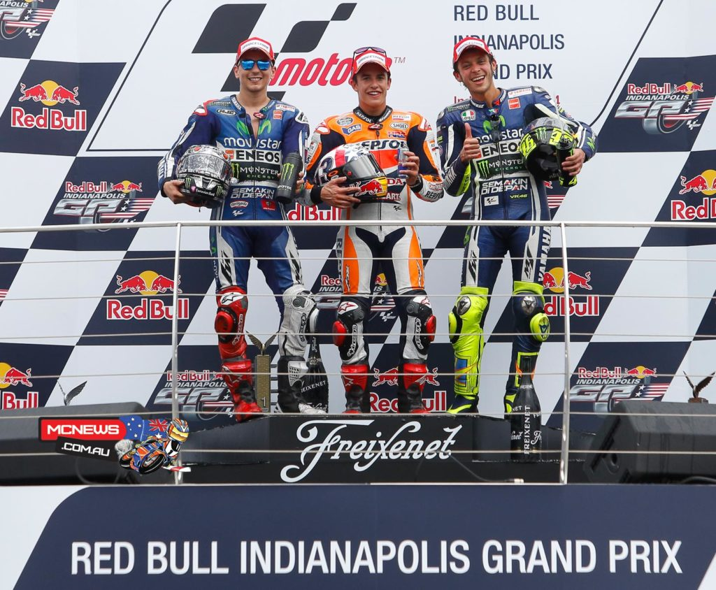 MotoGP World Champion Marc Marquez won his tenth consecutive race at the 2014 Red Bull Indianapolis Grand Prix, with Jorge Lorenzo and Valentino Rossi joining him on the podium.