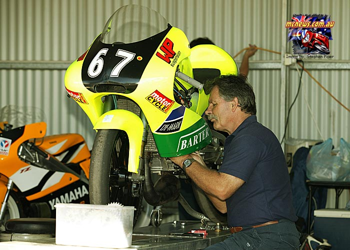 Like almost every racer Bryan also owes a lot to the support of his family. Here dad John, a recently retired paramedic fettles Bryan's 125 back in 2004. Mother Anthea always supportive. Brother Anthony was more than handy on a motorcycle too.