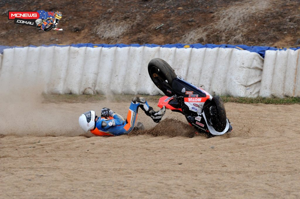 Brayden Elliott took a tumble at Wakefield Park