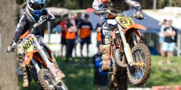Brodie Connolly (left) and Regan Duffy battle it out at Appin