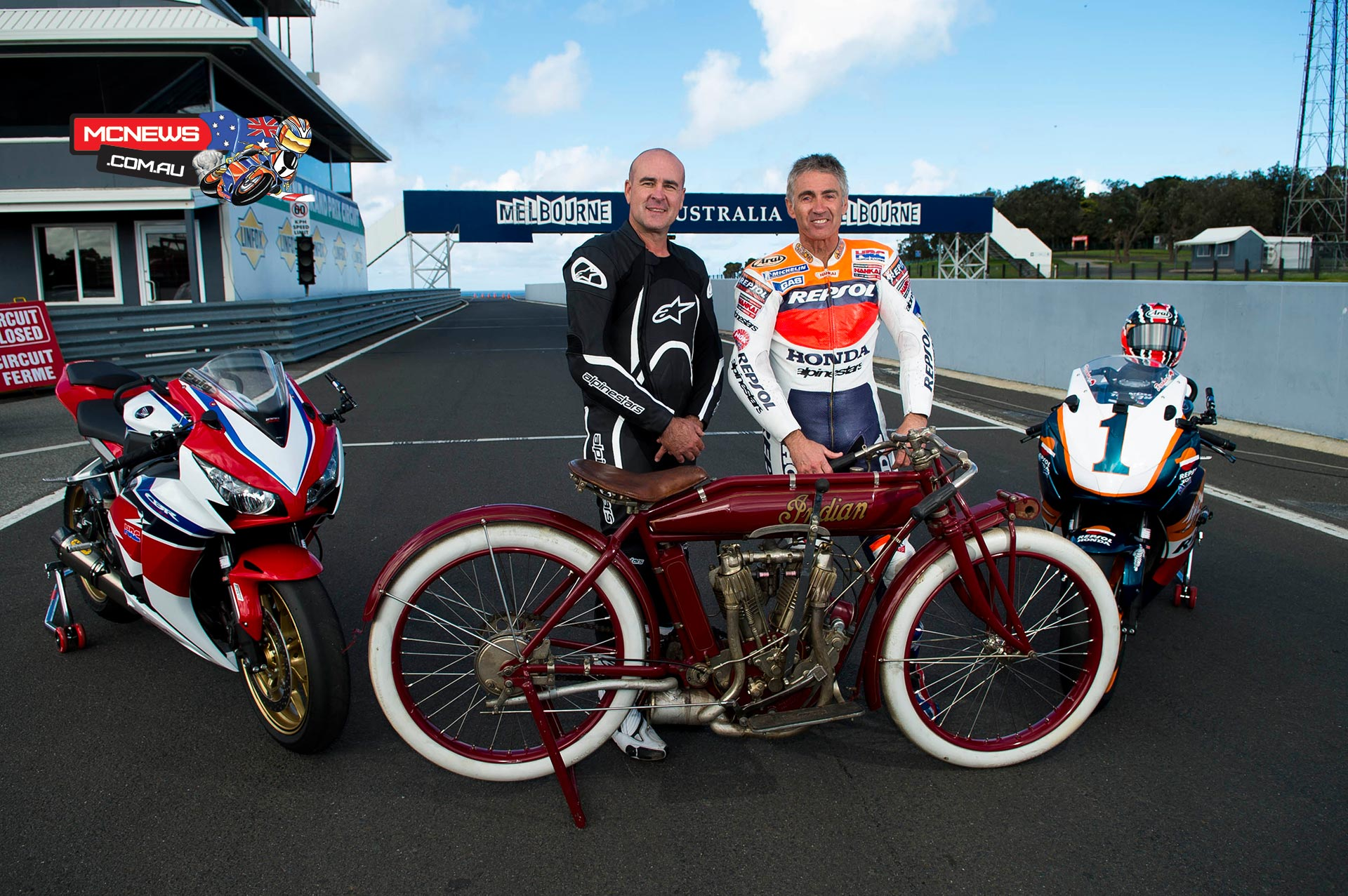 Australian Motorcycle Grand Prix turns 100 - Daryl Beattie and Mick Doohan with a 1914 Indian