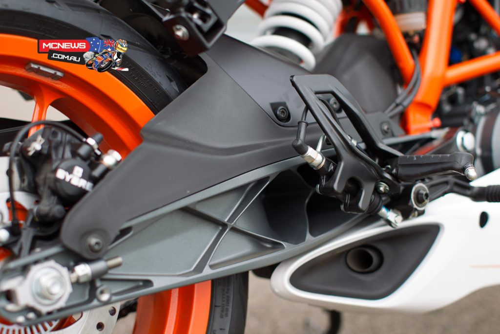 KTM RC390 sports an innovative exhaust layout