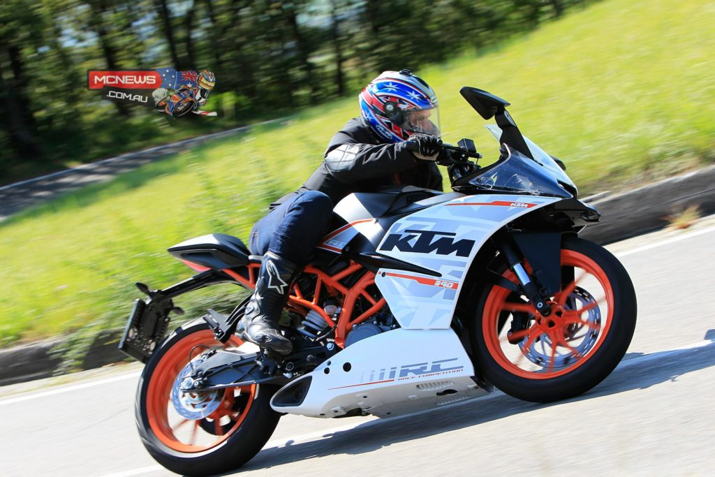 KTM RC390 ridden on a 100km road loop above Maranello (pictured) and also on the Autodromo di Modena circuit
