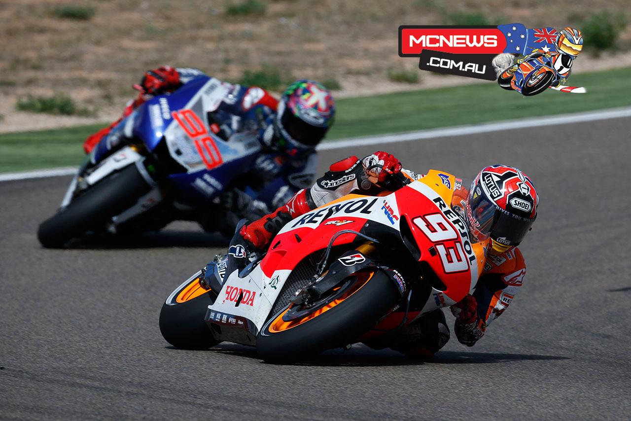 Marc Marquez and Jorge Lorenzo Aragon MotoGP 2013