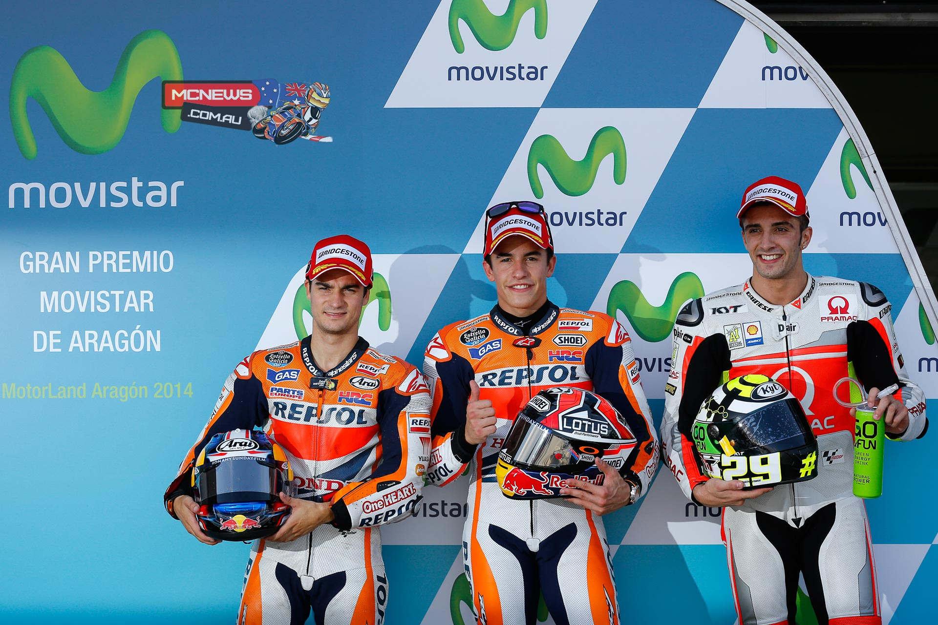 The MotoGP™ Q2 session on Saturday afternoon in Spain resulted in Marc Marquez taking pole at the Gran Premio Movistar de Aragon, with Dani Pedrosa and Andrea Iannone also achieving front row slots.