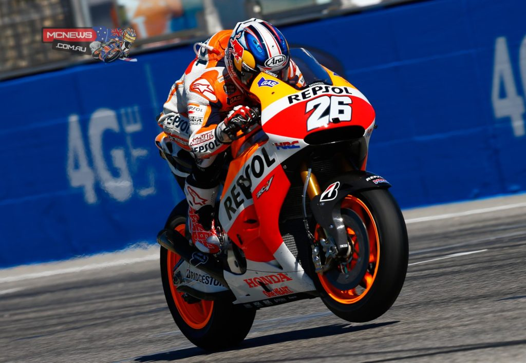 "Dani Pedrosa, Repsol Honda: 3rd ""Today's race was a very difficult one, and it was hard to do any more. Marc attempted to keep up with Valentino and Jorge but eventually he crashed trying – they were very strong here. This race also saw many problems for us with the front and rear, so there was little that we could do. From the opening laps I lost a lot of time in traffic, and that affected my entire race. I tried to do the best I could and still had difficulty passing Dovizioso, because he also lapped very quickly; eventually we were going as fast as the Valentino and Jorge. Now we have to take the positives from this weekend and hope that for the next race at Aragon, which is a track that I like, we have a better feeling and a better race."""