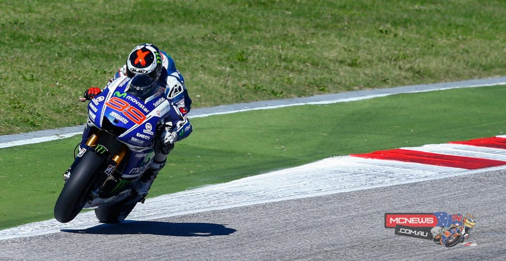 "Jorge Lorenzo 2nd / +1.578 / 28 laps ""It's been a tough race for me because we finally took a risk with the harder tyre. I'm happy with another podium but a bit disappointed because we thought we could fight for the victory. Right at the beginning, despite a good start I felt the front tyre didn't give me the confidence to lean and also on braking. In Brno we risked also changing the tyre and the result was good but here we struggled much more. For me it was impossible to get the victory. Even if I tried to push at the maximum, when I saw Marc crash, I knew Valentino had a better pace today. Valentino had a perfect weekend at home and he deserved the win, it's unbelievable at the age of 35! I'm also happy for the team because it's been a long time without a 1-2. All the Yamaha guys are working really well and the bike is more competitive race by race. I would like to win too but we will have to wait."""