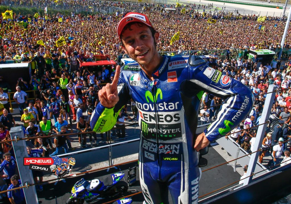 "Valentino Rossi 1st / 44'14.586 / 28 laps ""I'm very happy for sure because it's very special to win here in Misano in front of all the crowd and my family and friends. I'm very proud. I made it five years after the last time here, in the same way, fighting with Jorge. During the practice it looked like our Yamaha worked very well so we had a small advantage. I tried to the maximum and so I knew we could fight for victory, I knew for sure I would have to battle with Dani and Jorge and Marc. I tried to push from the start and at the end it was great to have the win more than one year later from my last. I always work hard and never give up and trust that days like this can happen. I have to say thank you to Yamaha, to all my team, to all my friends and all the crowd who support me, especially here in Misano."""