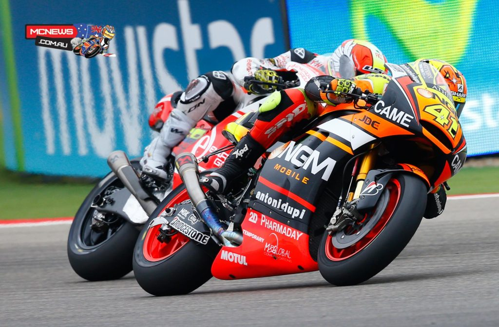 "Aleix Espargaro - 2nd / +10.295 / 23 laps - ""It's my first podium in MotoGP and this is an incredible feeling. We have worked hard throughout the season to get this result and I want to thank the NGM Forward Racing Team and my family that has always supported me. It was a difficult race, made more complicated by Smith who touched me at the beginning of the race, obliging me to recover from the 19th position. When I was sixth, with seven laps to go, I took the risk to be the first rider to enter the pits to change bike, as it was raining a lot. It was a perfect strategy. In the last lap I heard Cal catching me, he touched me on the straight but I could defend my second position. It's an extraordinary result and I'm going to party till Japan GP!"""