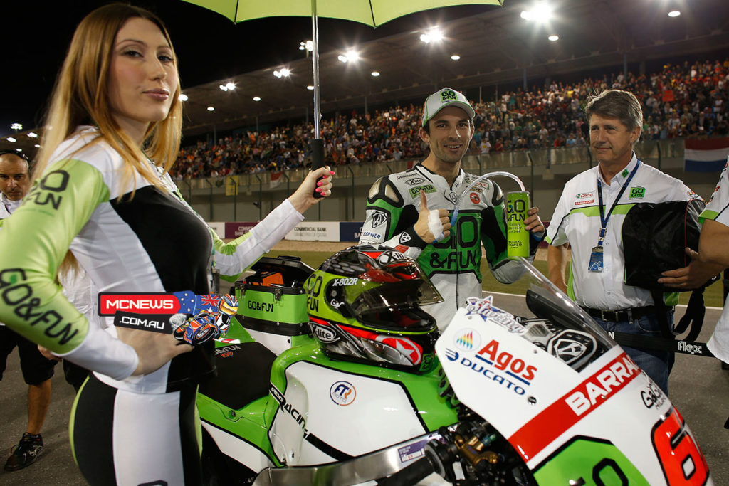 Bryan Staring on the grid at the 2013 MotoGP season opener in Qatar with long time supporter Russell Farrow