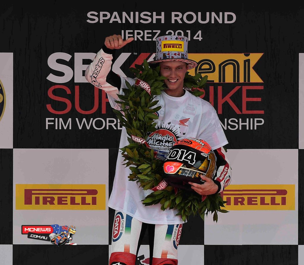 """Michael van der Mark - 2014 World Supersport champion -  """"I can't believe it right now! It's been a long journey to get here and since I started racing 10 years ago it's been my dream to be world champion. I can thank my family and especially my father who has done so much to help me. He isn't here – he has his own race today – so good luck to him! I also want to thank all my sponsors because maybe some of them you don't see on the bike but they have always supported me. Also my 80-year-old trainer who keeps me fit and strong! Last but not least, the team has done an amazing job. This year they gave me an incredible CBR to ride with an amazing set-up. Last year we struggled a lot but this year we have shown that if everything fits together we can be world champion."""""""