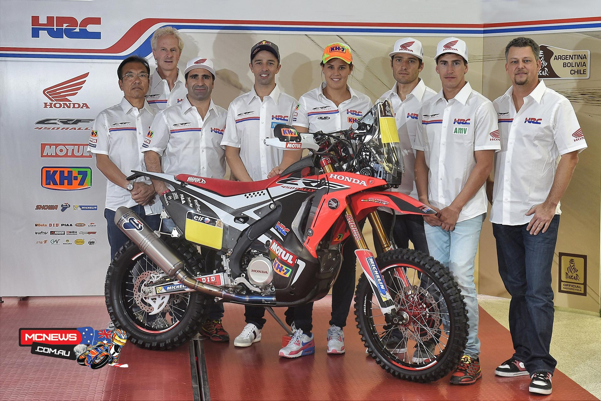 The CRF450 Rally Dakar staff members are led by Large Project Leader Katsumi Yamazaki, General Manager Martino Bianchi, and Team Manager Wolfgang Fischer.