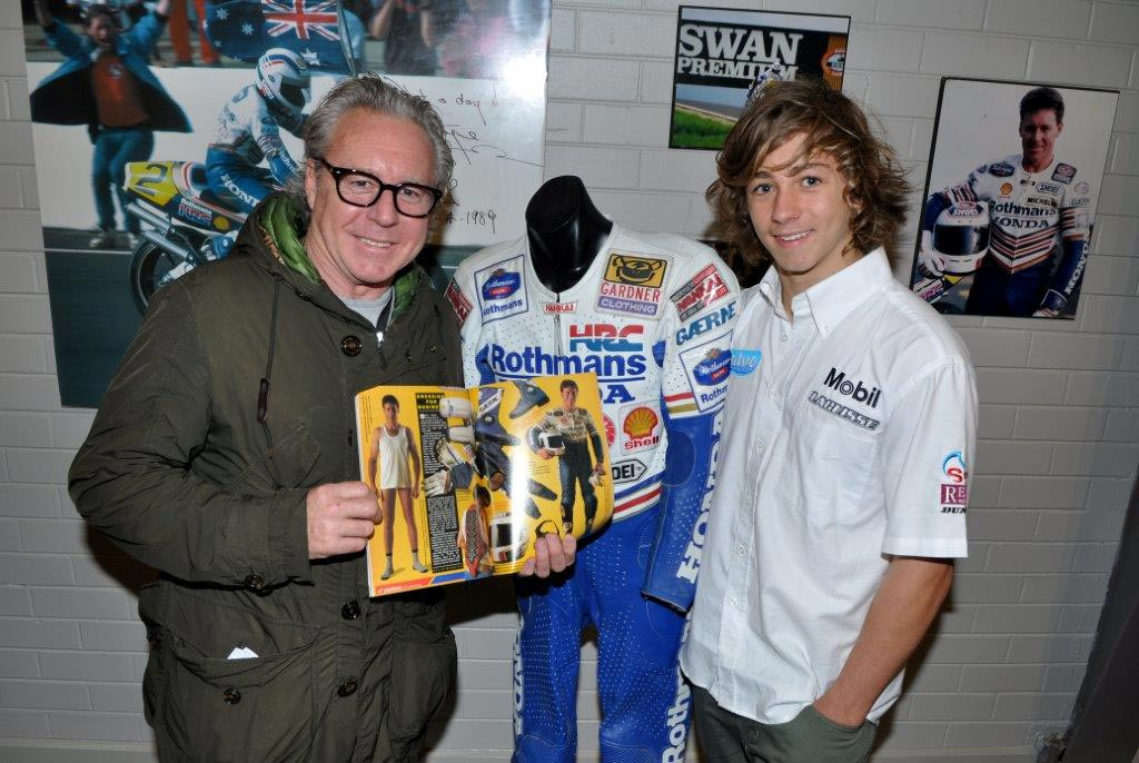 Wayne Gardner with an underwear advert he featured in during the 1989 season, much to Remy's embarrassment!