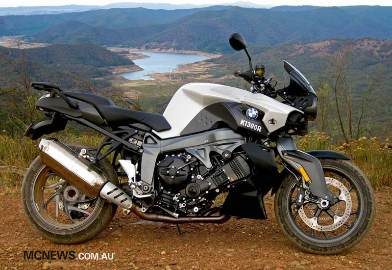 BMW K 1300 R above Lake Eildon during drought