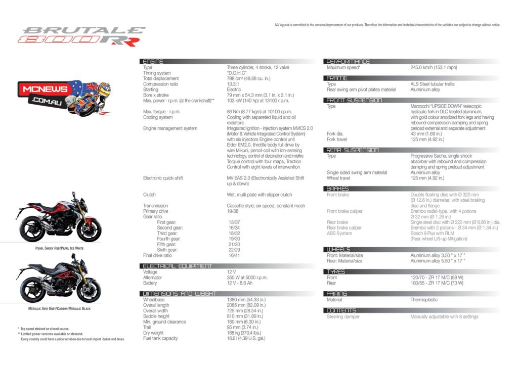 MV Agusta Brutale 800 RR Specifications