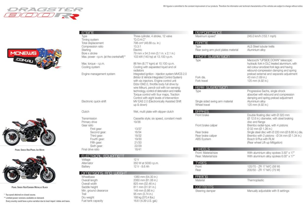 MV Agusta Brutale Dragster 800 RR Specifications