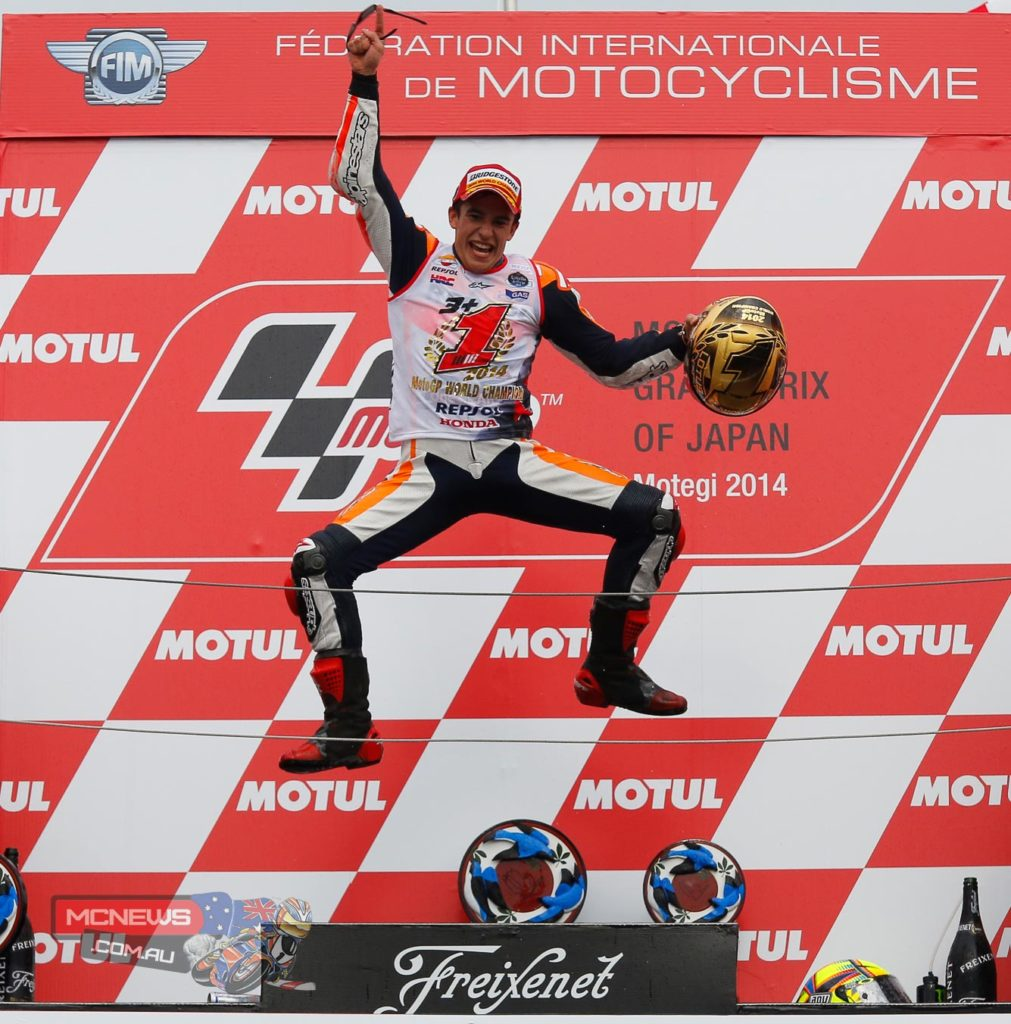 The 21-year-old from Cervera in Spain, already 125cc and Moto2 World Champion, won his second straight premier class to become the youngest ever winner of consecutive titles, beating the record of Mike Hailwood that had stood since 1963.