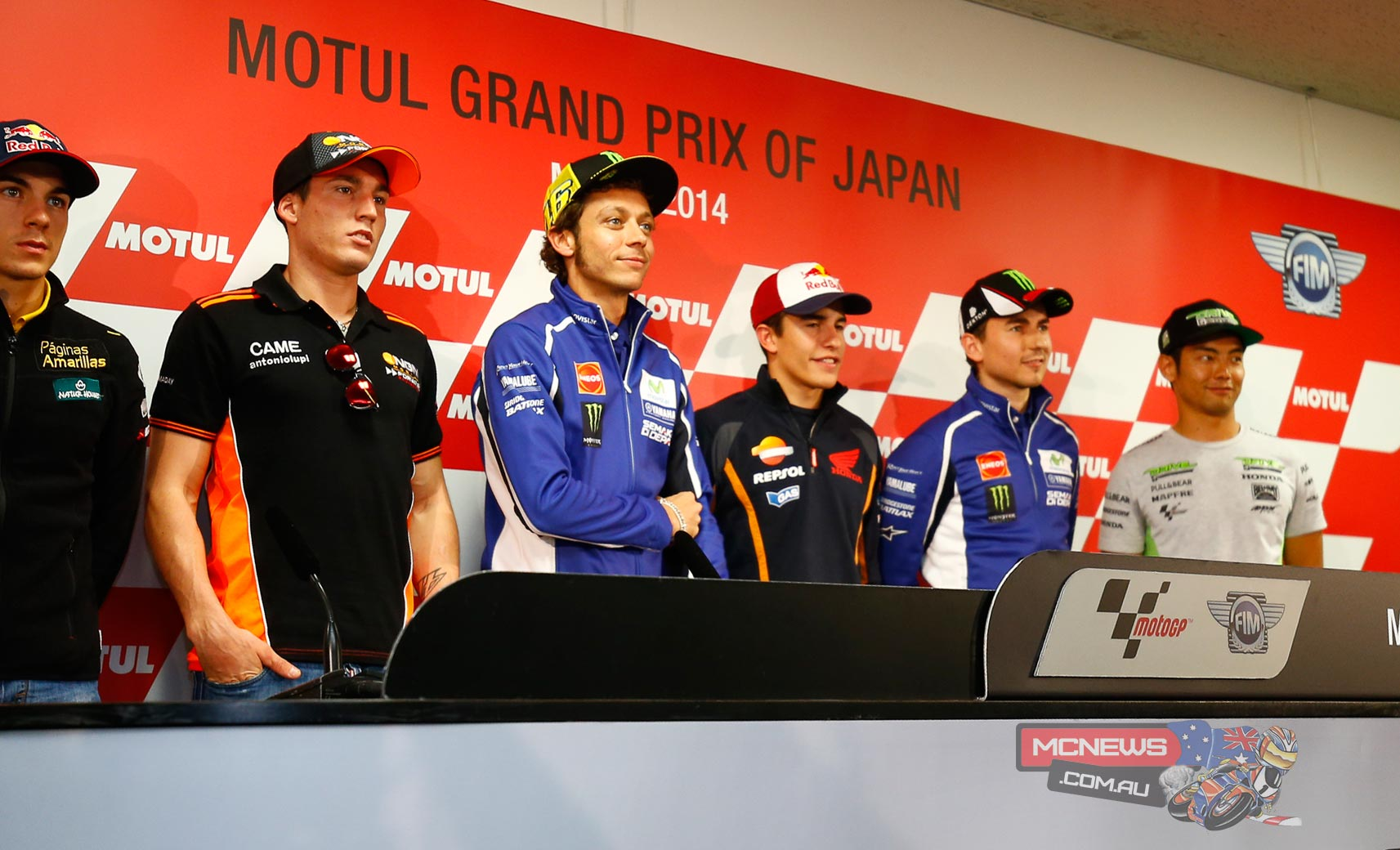 In the pre-event press conference ahead of the Motul Grand Prix of Japan on Thursday Marc Marquez, Valentino Rossi, Jorge Lorenzo, Aleix Espargaro, Hiroshi Aoyama and Maverick Viñales addressed the media as they prepare to embark on the first of the flyaway triple-header of races this weekend.