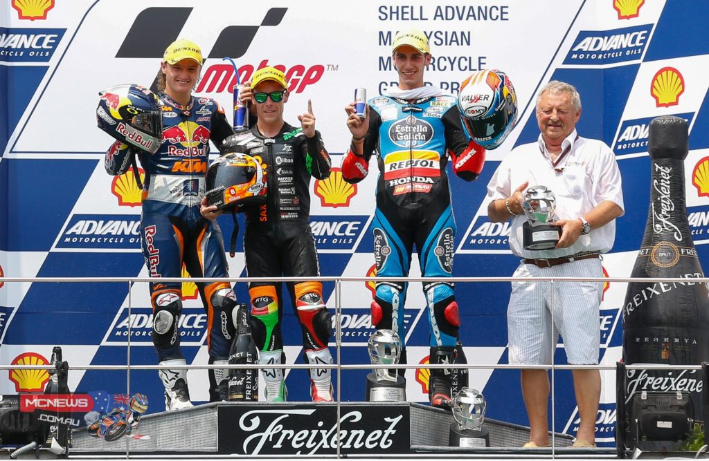 An enthralling Moto3™ race at the Shell Advance Malaysian Motorcycle Grand Prix saw Efren Vazquez take the win, with Jack Miller and Alex Rins also on the podium. Alex Marquez was fifth and the title battle will rage on in Valencia.