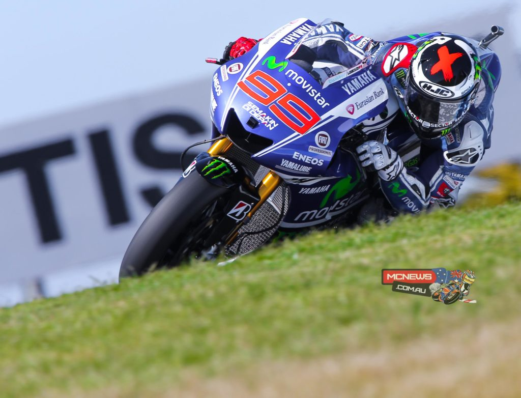 """Jorge Lorenzo - 1st / 1'29.602 / 14 laps - """"I didn't expect the crash because I was braking more or less at the same point with similar pressure as the previous laps but suddenly, without any warning, the front tyre closed. Within one tenth of a second I was in the gravel. It was quite a violent crash, but luckily it wasn't so hard that I got injured. My leathers are completely destroyed, but I am ok, which is the most important thing. I think the asymmetrical front tyre was too hard for these cold conditions. These things happen and you just have to learn from it. Now we have to choose between another 31 or another asymmetrical. It's a critical decision because tomorrow if it's hotter, the asymmetrical tyres might be the better option."""""""