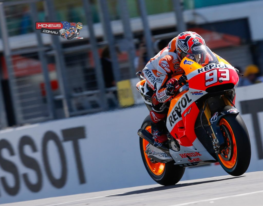 "Marc Marquez - 3rd - 1'29.752 - ""Today we focused on working with the new tyres that Bridgestone have brought for this circuit, which are totally different from what we have used for the rest of the year. This is also a circuit that requires a very exact setup, because it has some very fast corners. In the afternoon practice session we took a step forward and I felt much better on the bike, but I think we have to keep working because there are still things that we can improve. However, the feeling is very good and I think it has been a positive day."""