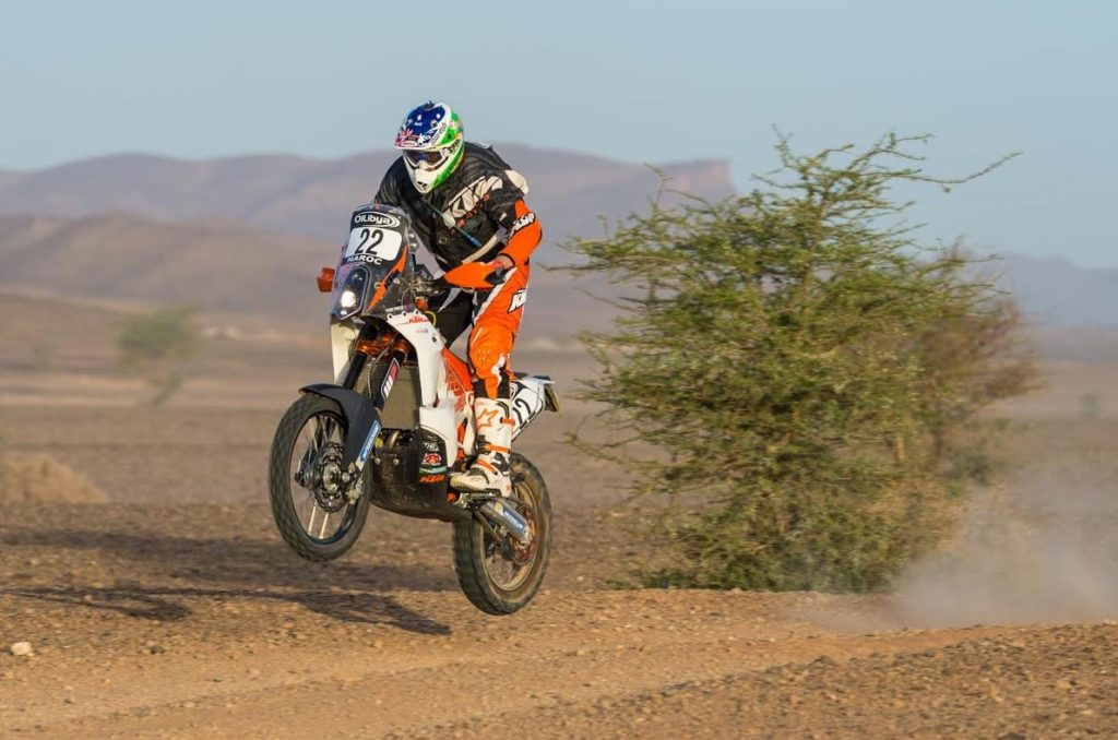 Toby Price finishes eighth and snags a podium on debut at his first FIM World Rally Championship event. Pic Ross Briggs