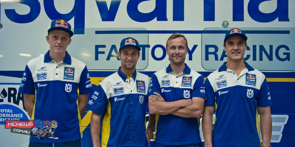 2015 Red Bull IceOne Husqvarna Factory Racing team, from left to right: Nathan Watson, Max Nagl, team manager Antti Pyrhönen, Todd Waters