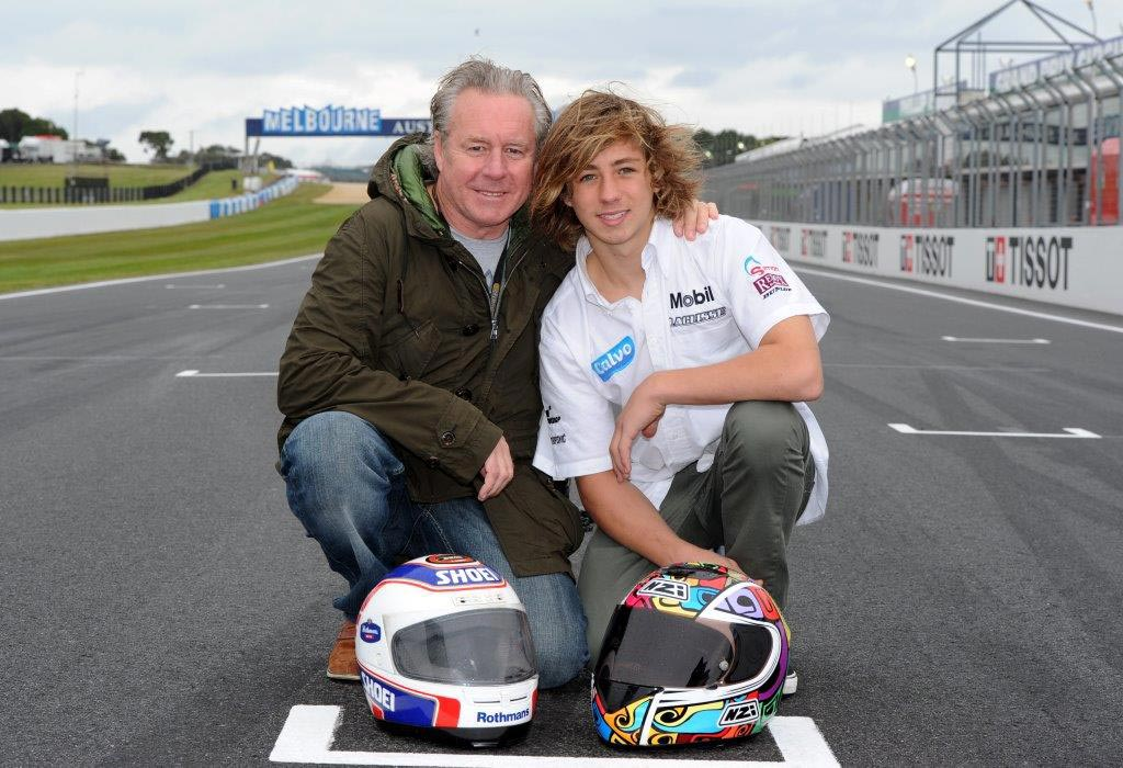 Wayne Gardner and son Remy Gardner on Gardner Straight at Phillip Island
