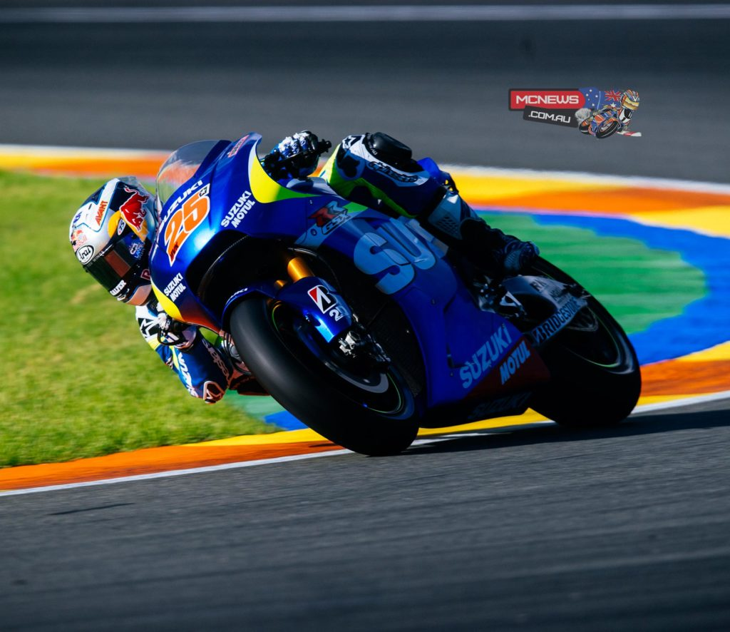"""Maverick Vinales:  """"I'm very happy overall with the test and quite satisfied that I could make plenty of laps as it was very-important for me to learn the feel in the MotoGP bike.  I found better grip on the bike with the hard tyre and could set the same lap-times I made on the first-day when I rode with a soft tyre. I could not make better lap-times when I tried the soft tyre again and so I concentrated on finding and keeping the best lines on the track.  I have learned a lot about the bike and I had so much fun riding it! I look forward to the next test in Jerez, as we have lots more to try there."""""""