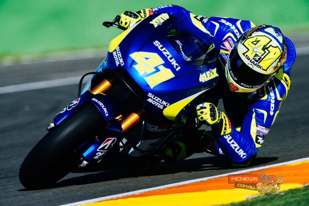 """Aleix Espargaro:  """"It was really fantastic. I feel the riding-position is much better compared to the one that I rode this year, and it turns very well so that braking and turning into the corners is really comfortable for me.  We are still missing some top-end power but I was previously informed this by the Suzuki engineers and I believe that they are working on-it, but the electronic control is not too bad, obviously.  The machine feels quite compact for me as I am quite tall, but I really enjoyed riding it and had a very positive start: I'm so exciting to continue riding it tomorrow"""